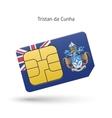 Tristan da Cunha mobile phone sim card with flag vector image vector image