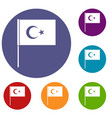 turkish flag icons set vector image vector image