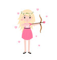 valentine day blonde cupid girl with bow and love vector image vector image