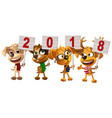 yellow dog symbol of year 2018 funny puppy group vector image vector image
