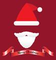 merry christmas - santa claus hat mustache beard vector image