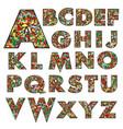floral doodle alphabet vector image
