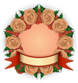 5 round frame of yellow and red roses vector image