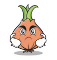 angry face onion character cartoon vector image