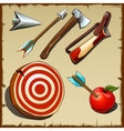 Archery set and tools for the hunter vector image