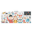 back to school banner with cute happy children vector image vector image