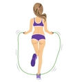 back view of young fitness woman jumping rope vector image vector image