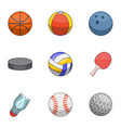 ball icons set cartoon style vector image vector image