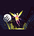 beautiful fairy flying in night forest vector image