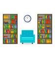 bookcases and armchair interior vector image