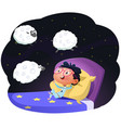 boy counting sheep to fall asleep vector image