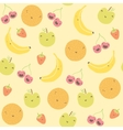 cartoon funny fruits seamless pattern vector image vector image