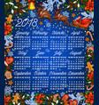 christmas holiday 2018 year calendar template vector image vector image