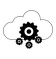 cloud computing and gears black and white vector image vector image