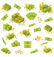 coins and banknote various money bills paper vector image