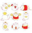 collection cute rats vector image