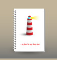 Cover of diary lighting lighthouse symbol vector image