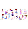 crowd of tiny women active in the park flat vector image vector image