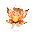 cute happy little girl dressed as a butterfly vector image vector image