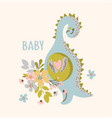 dino with flowers hand drawn vector image