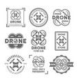 drone or quadrocopter set of black labels vector image vector image
