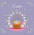 easter poster with eggs basket flowers vector image vector image