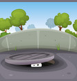eyes spying from manhole vector image vector image