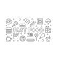 fast food outline horizontal banner vector image