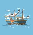 fisherman pulls fishing net vector image vector image