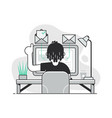 freelancer at work space open email concept vector image