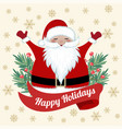 funny christmas card with fir branches and santa vector image vector image
