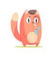 funny red cat lighting a cigarette cute cartoon vector image