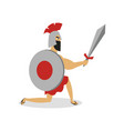 greek spartan man gladiator is ready to fight with vector image vector image