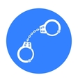 Handcuffs icon in black style isolated on white vector image vector image