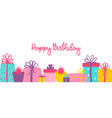 happy birthday long banner with cute hand drawn vector image vector image