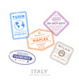 international travel visa stamps vector image vector image