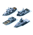 isometric warships military boats isolated vector image vector image