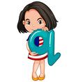 Little girl holding letter Q vector image vector image