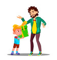 little son gives gift to dad isolated vector image vector image