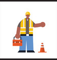 male builder holding toolbox african american busy vector image