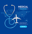 medical tourism concept banner card with realistic vector image vector image