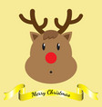 merry christmas - reindeer and ribbon vector image vector image