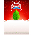Merry christmas text tree with snow bakcground vector image vector image