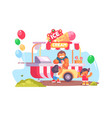 mobile food truck and van with ice cream vector image vector image