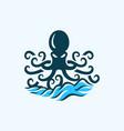 octopus waves business logo design vector image vector image