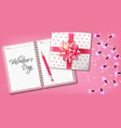 pink romantic card with gift box and garland vector image vector image
