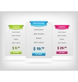 pricing hosting banner plans table vector image