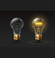 realistic light bulb on and off glass electric vector image