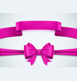realistic pink ribbon set on white background vector image vector image