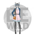 retro hipster fashion animal cat woman model vector image